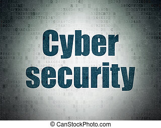 Protection concept: Cyber Security on Digital Data Paper background