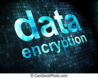 Protection concept: Data Encryption on digital background