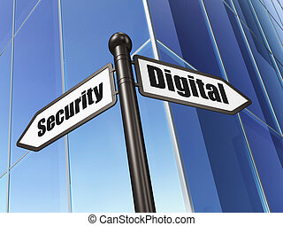 Protection concept: Digital Security on Building background