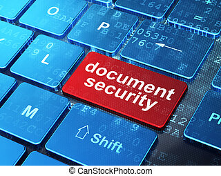 Protection concept: Document Security on computer keyboard