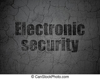 Protection concept: Electronic Security on grunge wall background