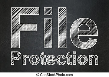 Protection concept: File Protection on chalkboard background