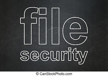 Protection concept: File Security on chalkboard background