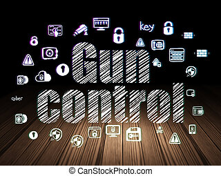 Protection concept: Gun Control in grunge dark room -...