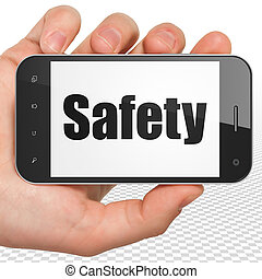 Protection concept: Hand Holding Smartphone with Safety on display