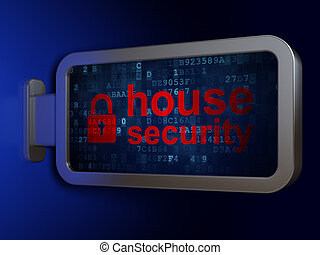 Protection concept: House Security and Closed Padlock on billboard background