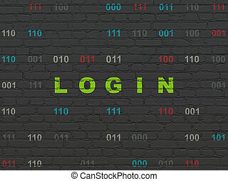 Protection concept: Login on wall background
