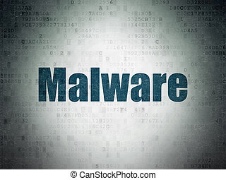 Protection concept: Malware on Digital Data Paper background
