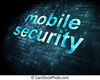 Protection concept: Mobile Security on digital background