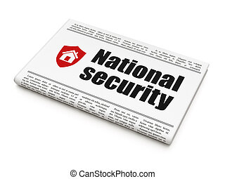 Protection concept: newspaper with National Security and Shield