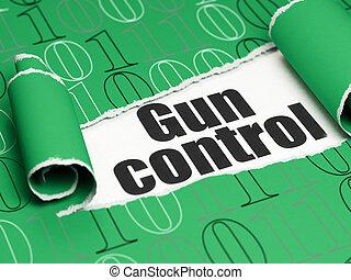 protection, concept:, noir, texte, contrôle fusil, sous, les, morceau, de, papier déchiré