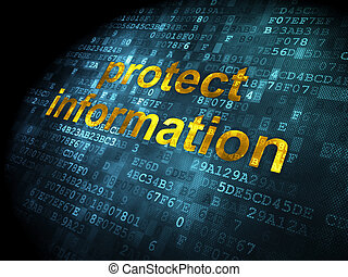 Protection concept: Protect Information on digital background