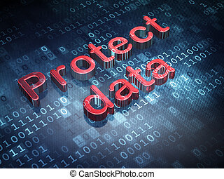 Protection concept: Red Protect Data on digital background