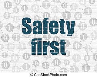 protection, concept:, sûreté abord, sur, mur, fond