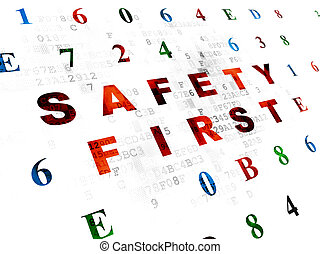 Protection concept: Safety First on Digital background