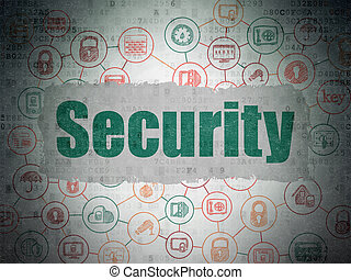 Protection concept: Security on Digital Data Paper background