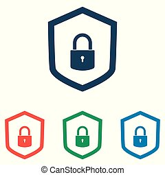 Protection concept. Security shield and lock icon set - simple flat design isolated on white background, vector