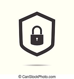 Protection concept. Security shield and lock icon - simple flat design isolated on white background, vector