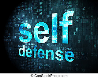 Protection concept: pixelated words Self Defense on digital background, 3d render