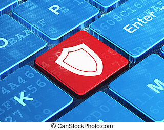 Protection concept: Shield on computer keyboard background -...