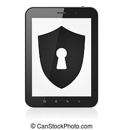 Protection concept: Shield With Keyhole on tablet pc computer