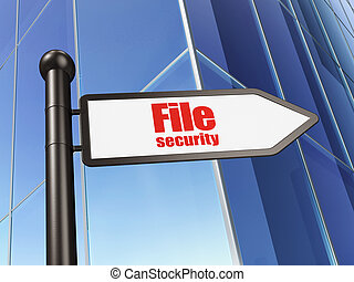 Protection concept: sign File Security on Building background