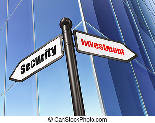 Protection concept: sign Investment Security on Building background