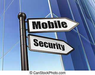 Protection concept: sign Mobile Security on Building background