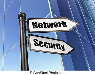 Protection concept: sign Network Security on Building background, 3d render
