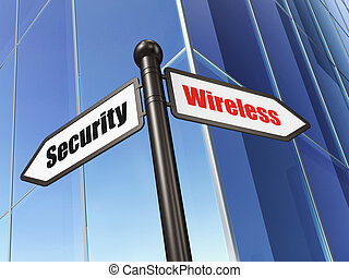 Protection concept: sign Wireless Security on Building background