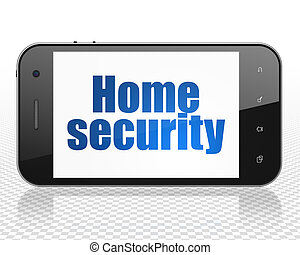 Protection concept: Smartphone with Home Security on display
