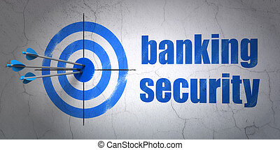 Protection concept: target and Banking Security on wall background