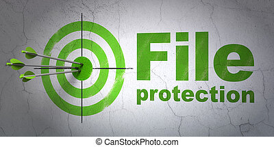 Protection concept: target and File Protection on wall background