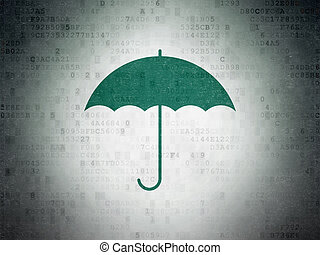 Protection concept: Umbrella on Digital Data Paper background