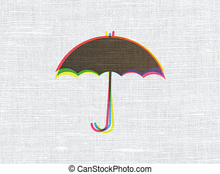 Protection concept: Umbrella on fabric texture background