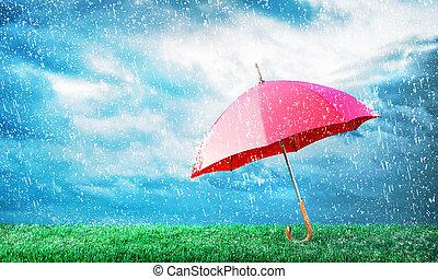 Protection concept. Umbrella under rain. 3d illustration