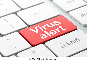 Protection concept: Virus Alert on computer keyboard background