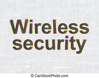 Protection concept: Wireless Security on fabric texture background