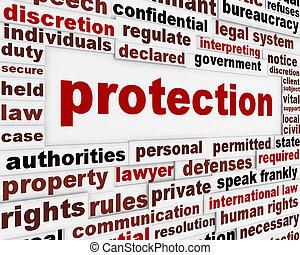 protection, créatif, message, conception