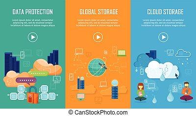 protection données, global, et, nuage, stockage, bannières