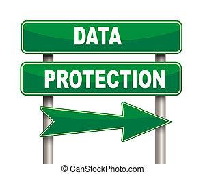 protection données, vert, panneaux signalisations
