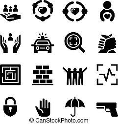 protection, ensemble, icône