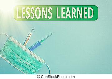 protection., expérience, concept, monde médical, primaire, ou, leçons, learned., gained, connaissance, précaution, écriture, texte, soin, compréhension, santé, signification, equipments