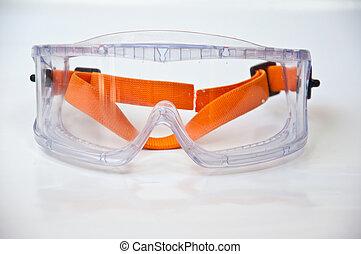Protection eyeglass - protectin eyeglass on white background