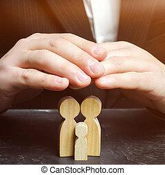 protection, famille, care., assurance, vie, concept, assurance, property., santé, propriété, sécurité