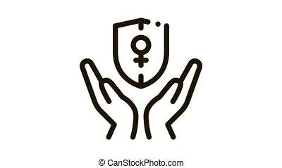 protection, femme, animation, icône
