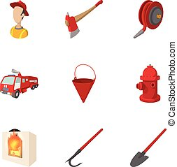 Protection from fire icons set, cartoon style