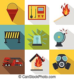 Protection from fire icons set, flat style