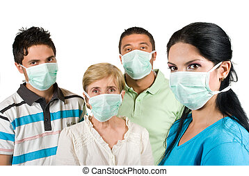 Protection from flu - Young woman with protective mask...