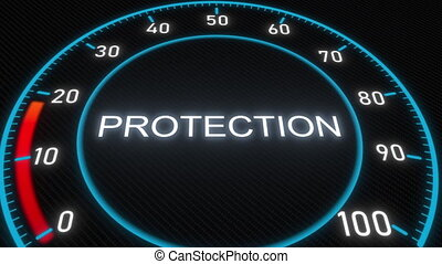 Protection futuristic meter or indicator. Conceptual 3D...